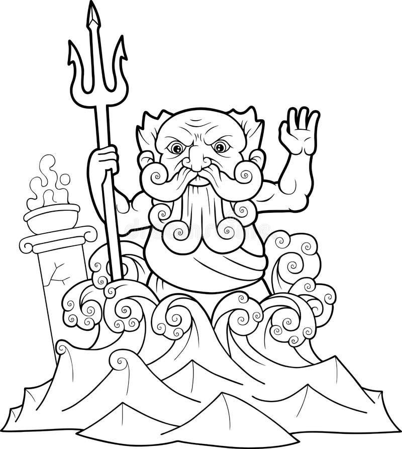 Нептун с трёхзубцем в руке иллюстрация штока