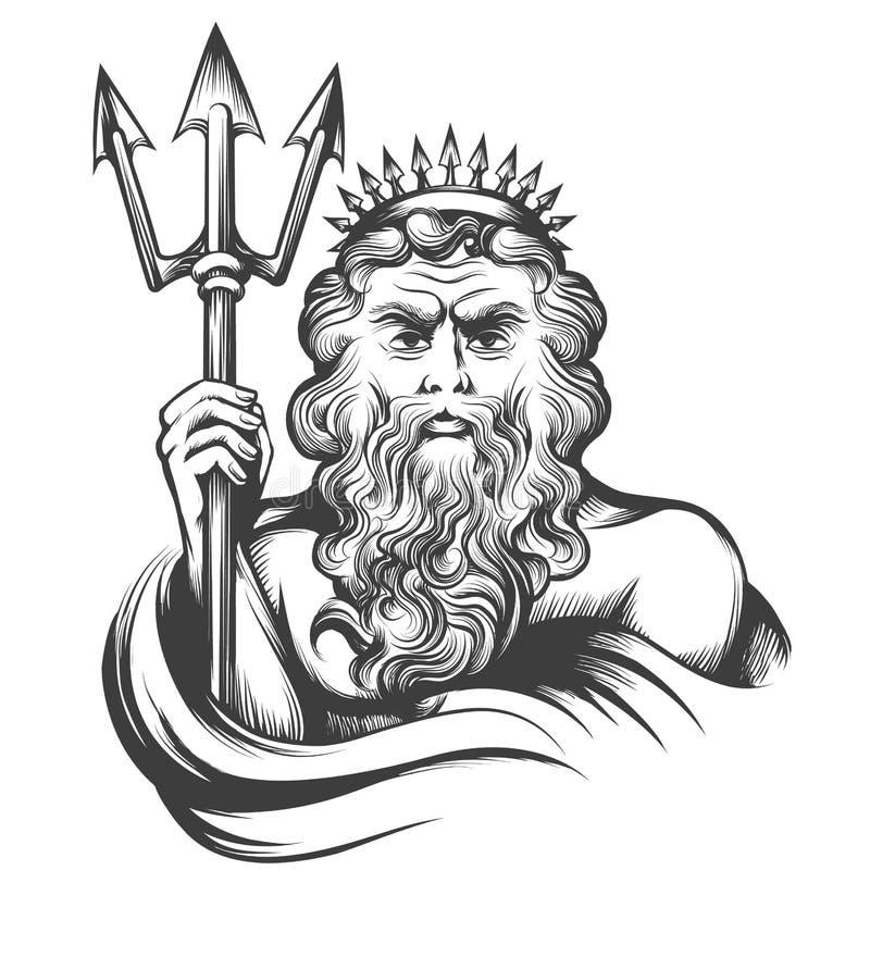 Нептун с трёхзубцем иллюстрация штока