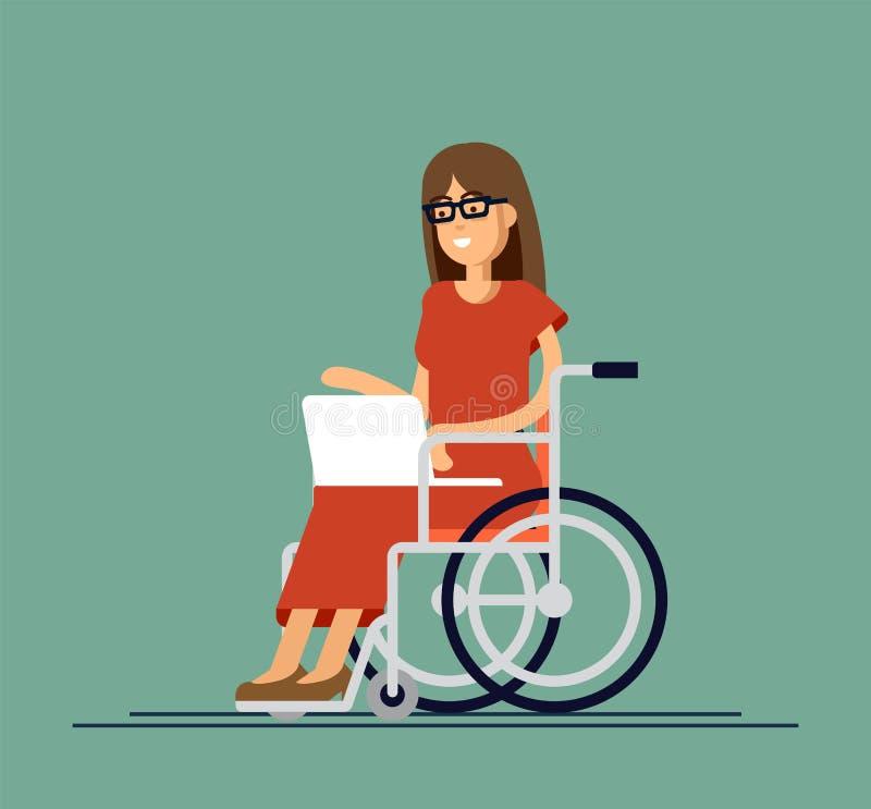 Неработающая молодая женщина в кресло-коляске работая с компьютером Онлайн работа и запуск Инвалидность и общество иллюстрация штока