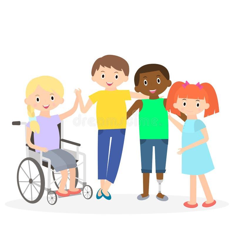 Неработающие дети с друзьями Ребеята с ограниченными возможностями на белизне иллюстрация штока