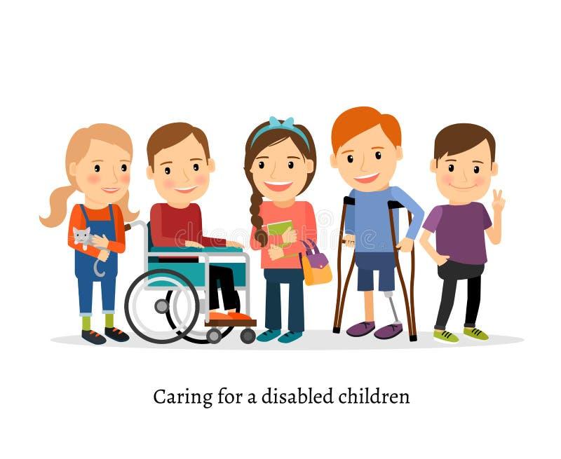 Неработающий или ребенок с ограниченными возможностями с друзьями иллюстрация вектора