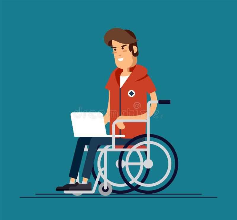 Неработающий молодой человек в кресло-коляске работая с компьютером Производительная онлайн работа Инвалидность, концепция социал иллюстрация вектора