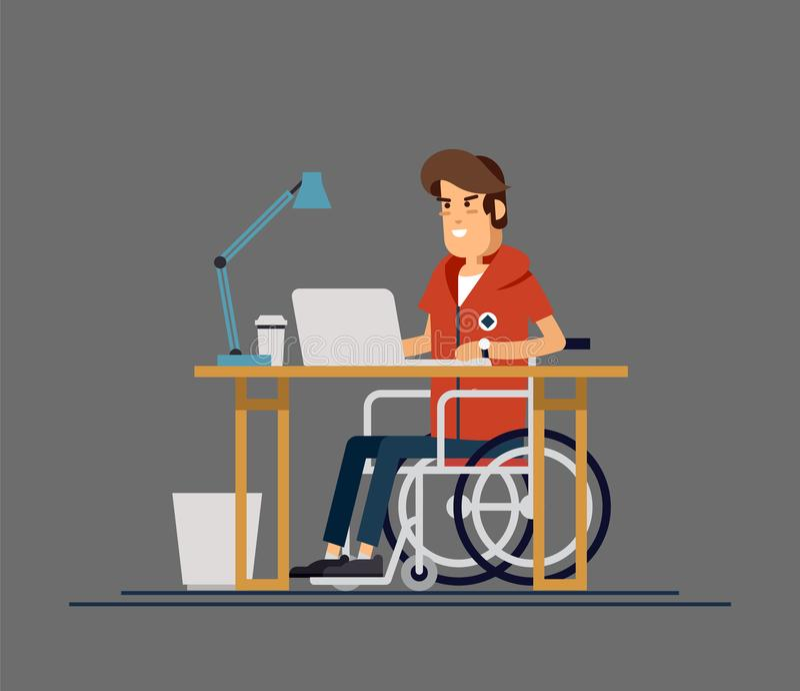 Неработающий молодой человек в кресло-коляске работая с компьютером Производительная онлайн работа Инвалидность, концепция социал иллюстрация штока
