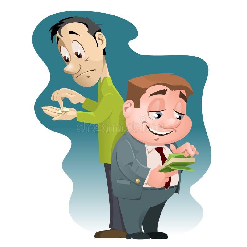Неравенство в богатстве Богатый человек и бедный человек бесплатная иллюстрация
