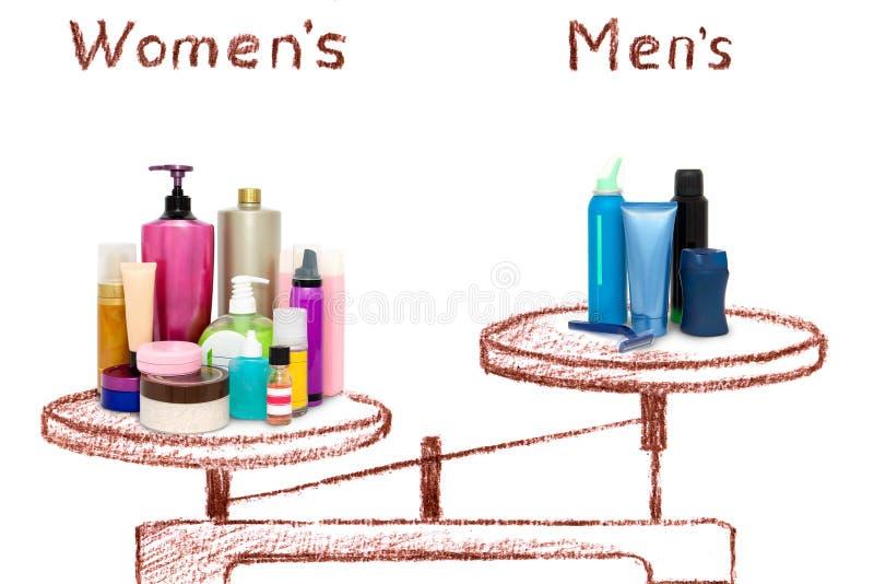 Неравенство мужских и женских косметик на масштабах бесплатная иллюстрация