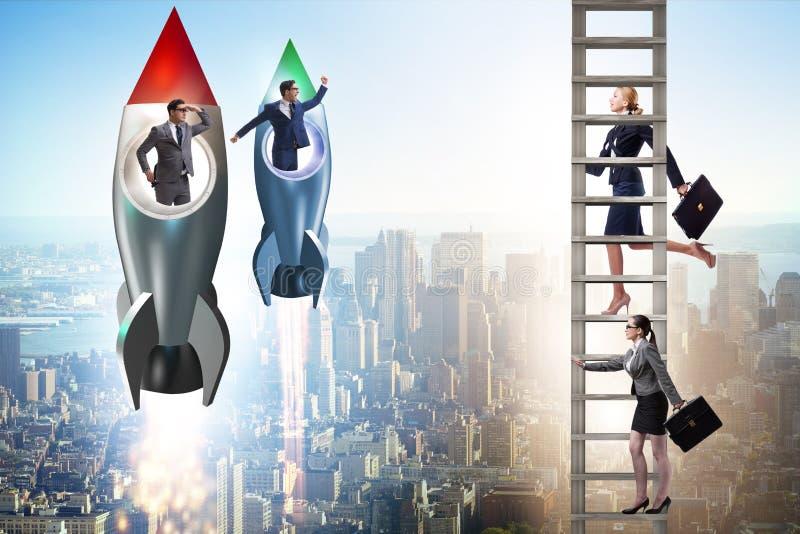 Неравная концепция возможностей карьеры для людей и женщин стоковые фото