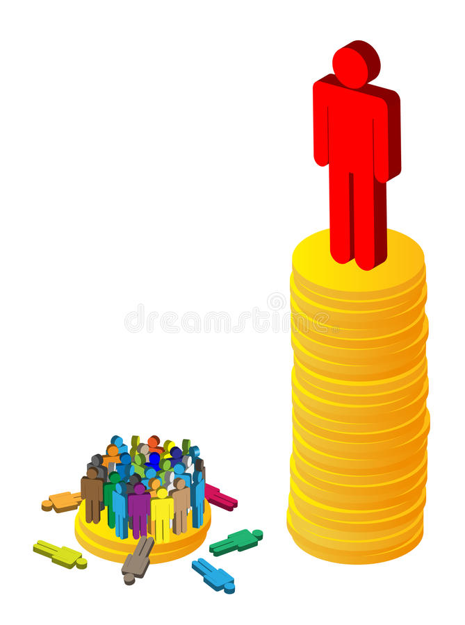 Неравноценность богатства иллюстрация штока