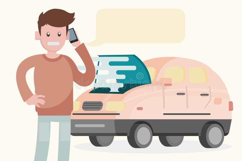Нервное расстройство автомобиля на дороге Человек вызывает обслуживание к hel иллюстрация вектора