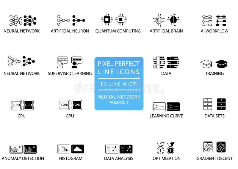 Нервные системы и глубокий уча комплект значка вектора оптимизированные для пользы сети иллюстрация вектора