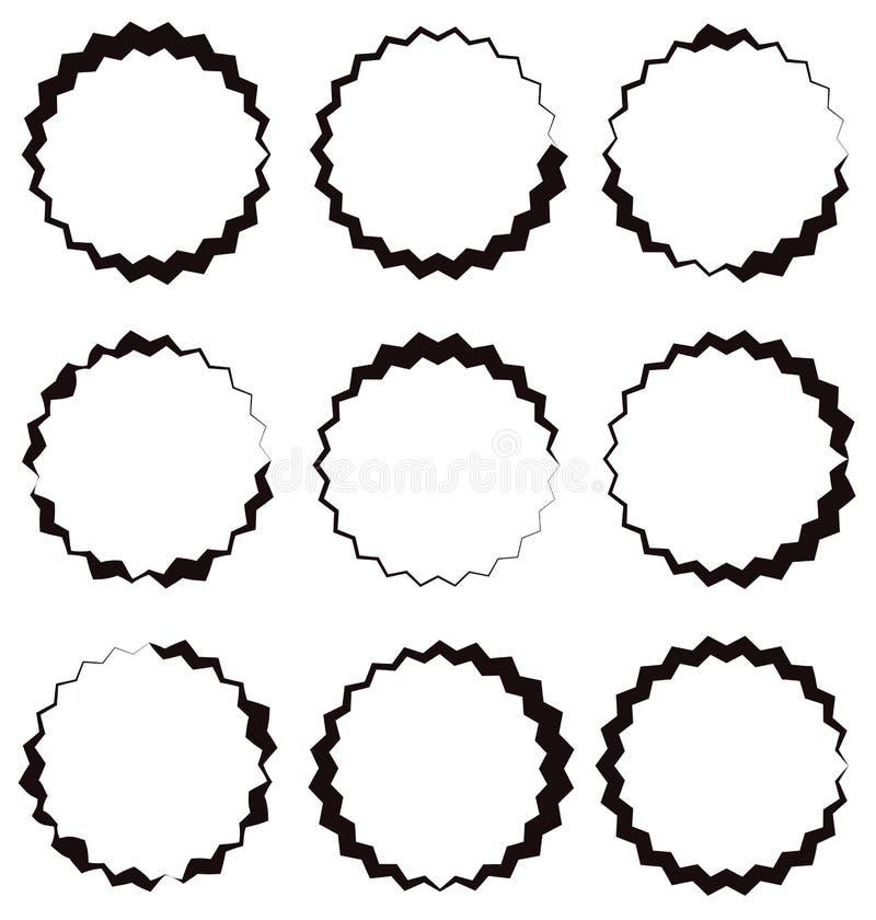 Нервный, рамка круга зигзага, граница круга Текстурированное круговое shap бесплатная иллюстрация