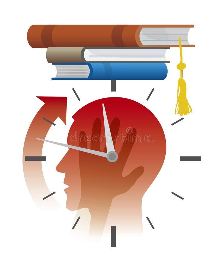 Нервный студент перед экзаменами, концепция крайнего срока, мультфильм иллюстрация штока