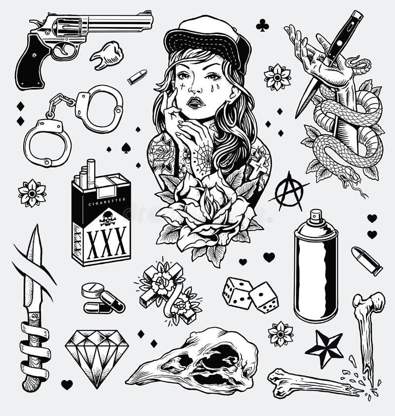 Нервный черно-белый комплект вспышки татуировки бесплатная иллюстрация