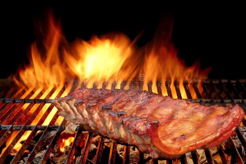 Нервюры свинины задней части младенца BBQ на горячем пламенеющем гриле стоковое фото