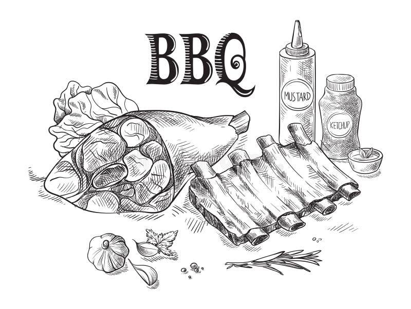 Нервюры свинины и костяшка свинины при соус изолированный на белой предпосылке иллюстрация штока
