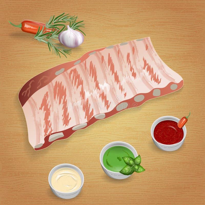 Нервюры свинины с вкусными соусами и специями Мустард, кетчуп, чеснок иллюстрация штока