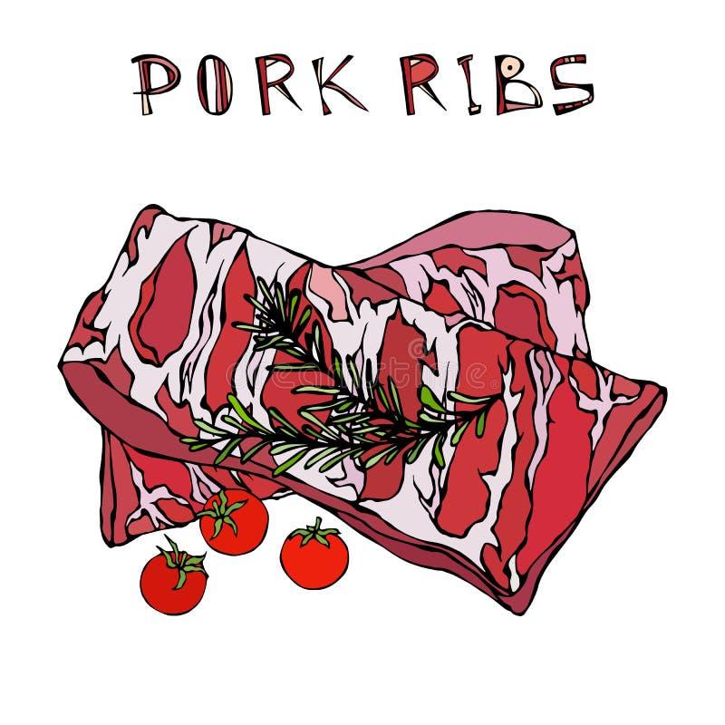 Нервюры свинины с травой и томатом Розмари Гид мяса для меню ресторана мясной лавки или стейкхауса иллюстратор иллюстрации руки ч иллюстрация вектора