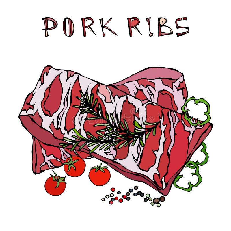 Нервюры свинины с травой, перцем, болгарским перцем и томатом Розмари Гид мяса для меню ресторана мясной лавки или стейкхауса Рук иллюстрация вектора