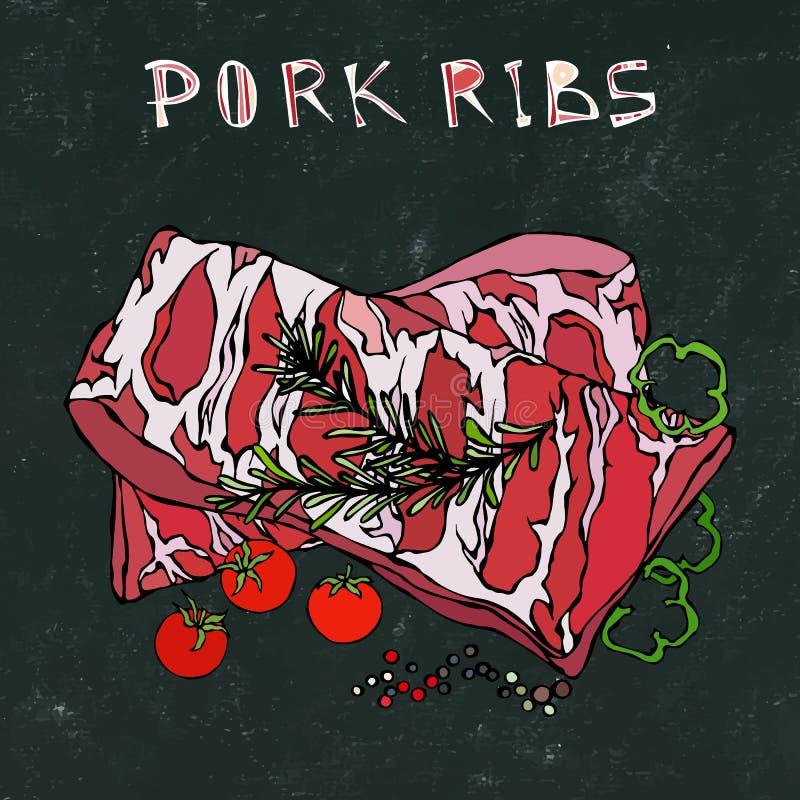 Нервюры свинины с травой, перцем, болгарским перцем и томатом Розмари Гид мяса для меню ресторана мясной лавки или стейкхауса Рук бесплатная иллюстрация