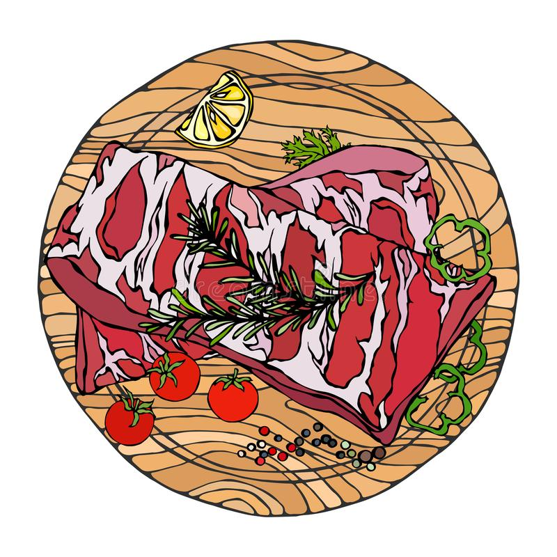 Нервюры свинины с травой, перцем, лимоном, болгарским перцем и томатом Розмари На круглой деревянной разделочной доске Гид мяса д бесплатная иллюстрация