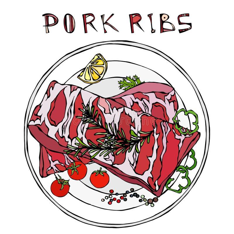 Нервюры свинины с травой, перцем, лимоном, болгарским перцем и томатом Розмари На круглой плите Гид мяса для мясной лавки или сте бесплатная иллюстрация