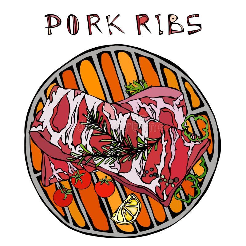 Нервюры свинины с травой, перцем, лимоном, болгарским перцем и томатом Розмари На круглом гриле BBQ Гид мяса для мясной лавки или бесплатная иллюстрация