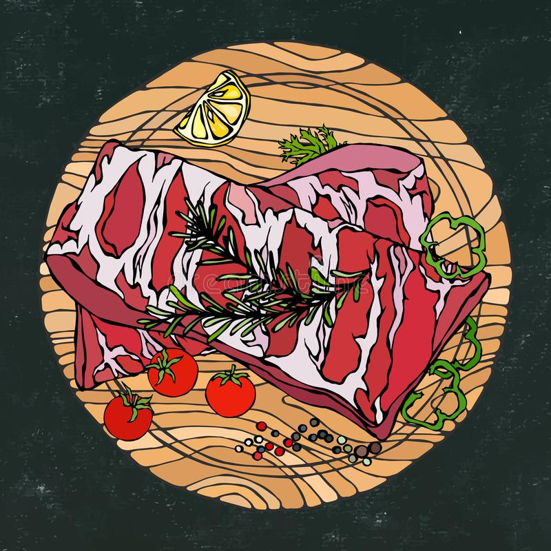 Нервюры свинины с травой, перцем, лимоном, болгарским перцем и томатом Розмари На круглой деревянной разделочной доске Ресторан с иллюстрация вектора