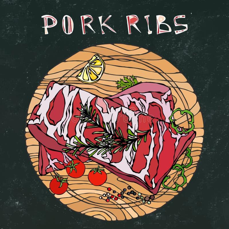 Нервюры свинины с травой, перцем, лимоном, болгарским перцем и томатом Розмари На круглой деревянной разделочной доске Ресторан с бесплатная иллюстрация