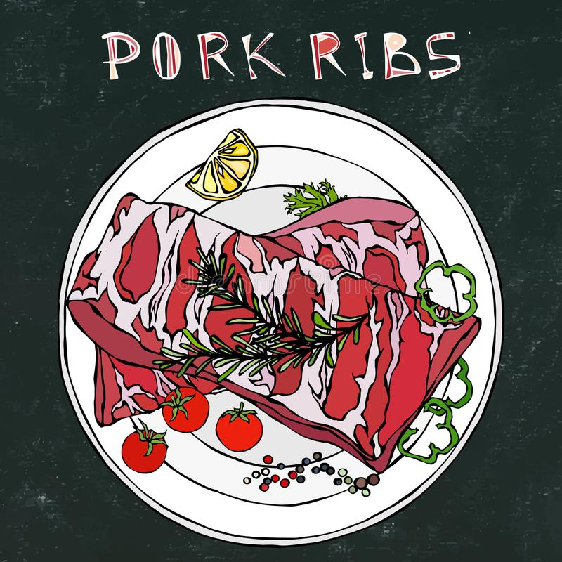 Нервюры свинины с травой, перцем, лимоном, болгарским перцем и томатом Розмари На круглой плите Меню ресторана магазина или стейк иллюстрация штока