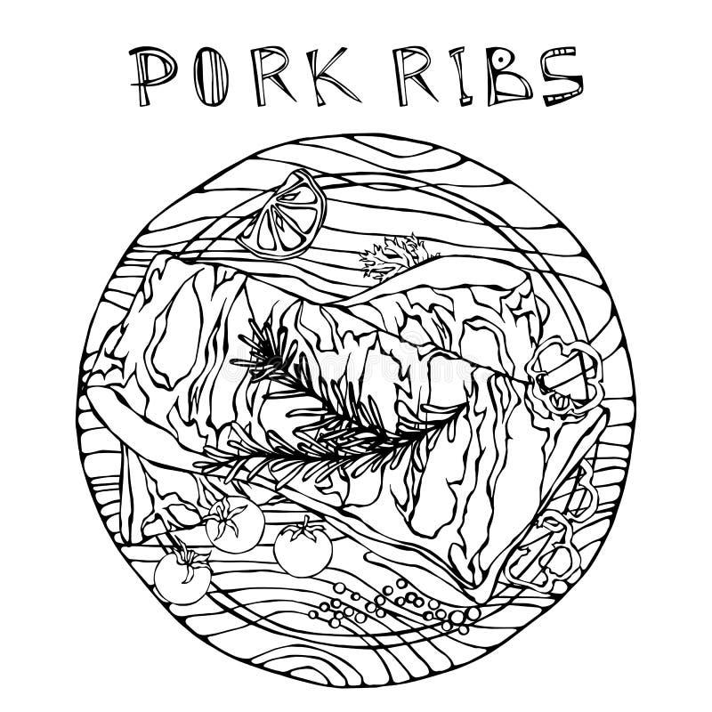 Нервюры свинины с травой, перцем, лимоном, болгарским перцем и томатом Розмари На круглой деревянной разделочной доске Гид мяса д иллюстрация вектора