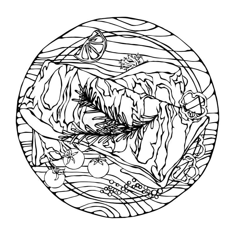 Нервюры свинины с травой, перцем, лимоном, болгарским перцем и томатом Розмари На круглой деревянной разделочной доске Гид мяса д иллюстрация штока