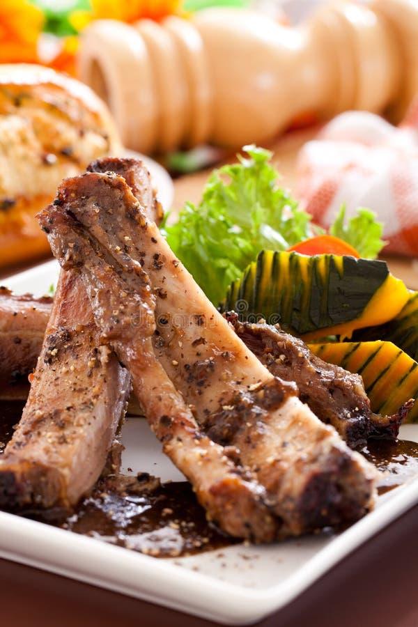 Нервюры свинины BBQ запасные стоковые изображения rf