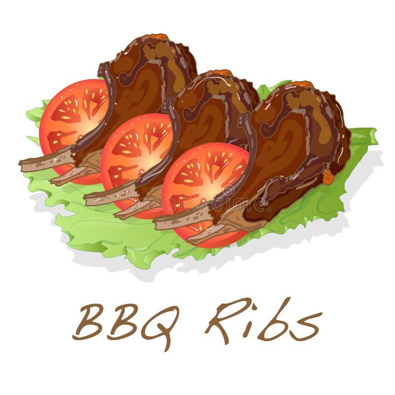 Нервюры BBQ с томатом и salat бесплатная иллюстрация