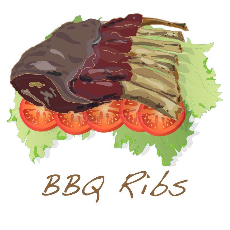 Нервюры BBQ с томатом и salat иллюстрация штока
