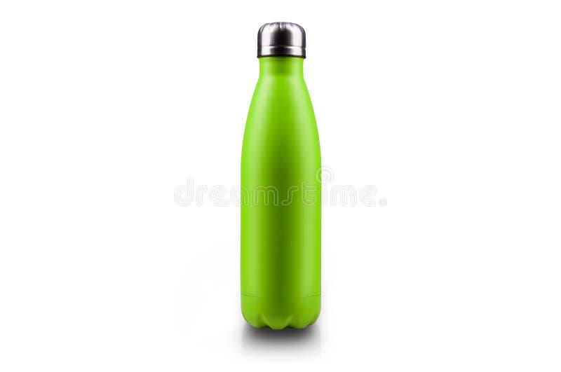 Нержавеющая бутылка с водой thermos, изолированная на белой предпосылке Салатовый цвет стоковые изображения
