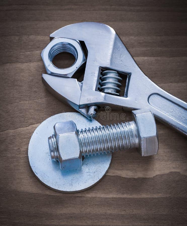 Нержавеющая шайба болта раздвижного ключа продела нитку винт-гайку и scre стоковая фотография