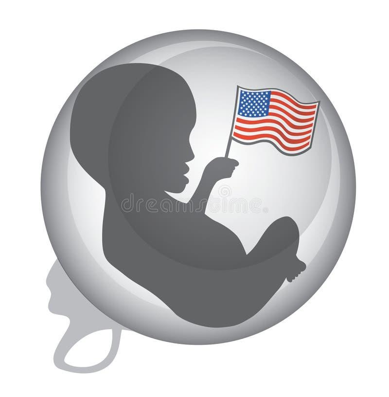 Нерождённый младенец держа американский флаг стоковая фотография
