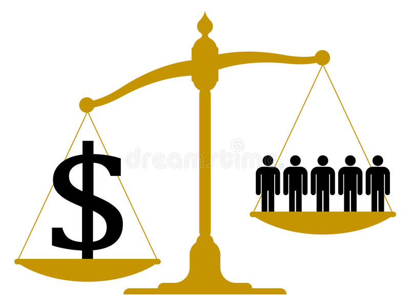 Несбалансированный масштаб с людьми и знаком доллара иллюстрация вектора