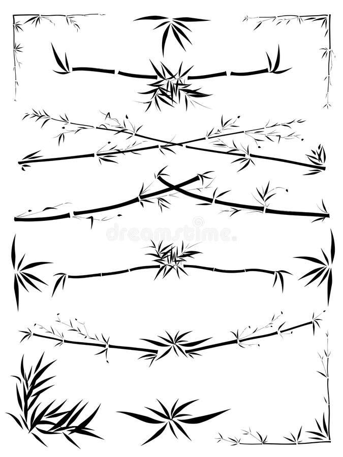 несимметричное bamboo украшение граници бесплатная иллюстрация