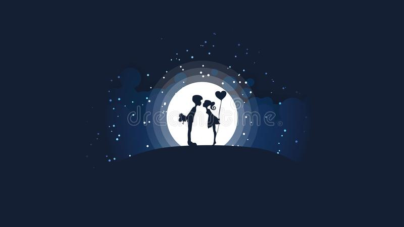 Несколько девушки и парни целуя на холме перед большой яркой луной и звездами иллюстрация штока
