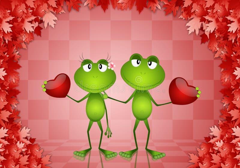 Несколько лягушки с сердцами во дне Валентайн бесплатная иллюстрация