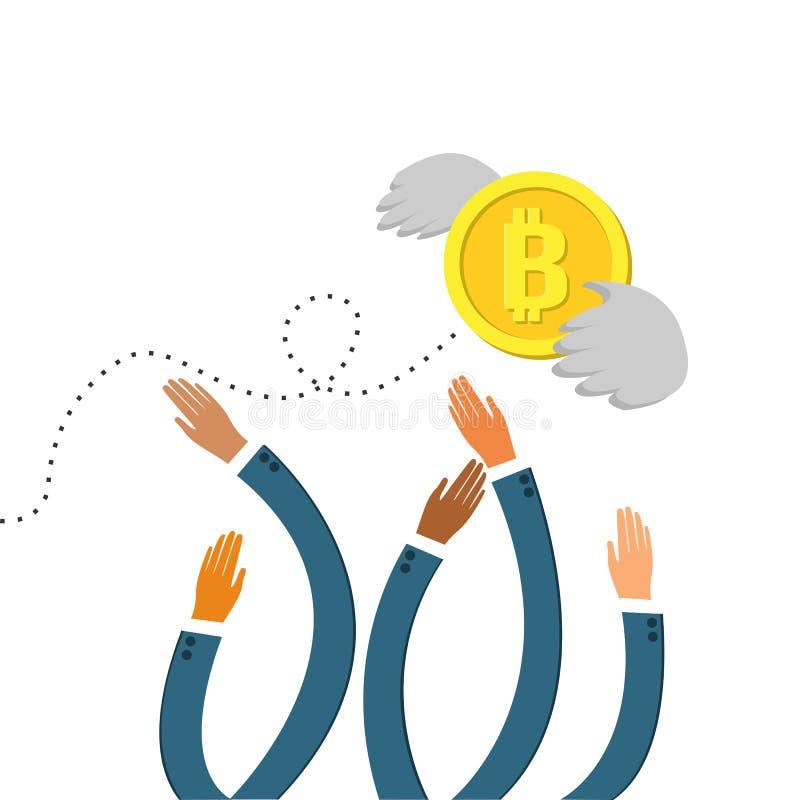 Несколько рук достигая вне для того чтобы уловить монетку летая валюты Bitcoin с крылами бесплатная иллюстрация