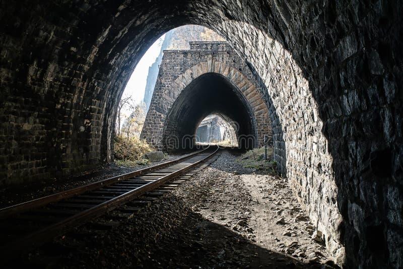 Несколько тоннелей на железной дороге Circum-Байкала стоковые изображения