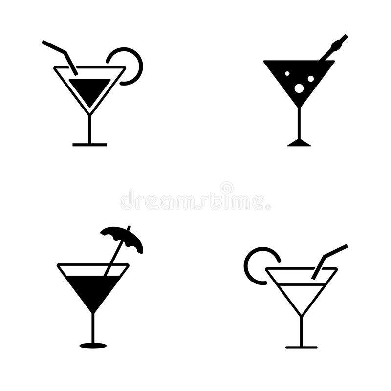 Нескольк стиль значков коктеиля иллюстрация штока