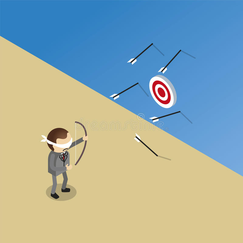 Несоосность бизнесмена цель иллюстрация вектора