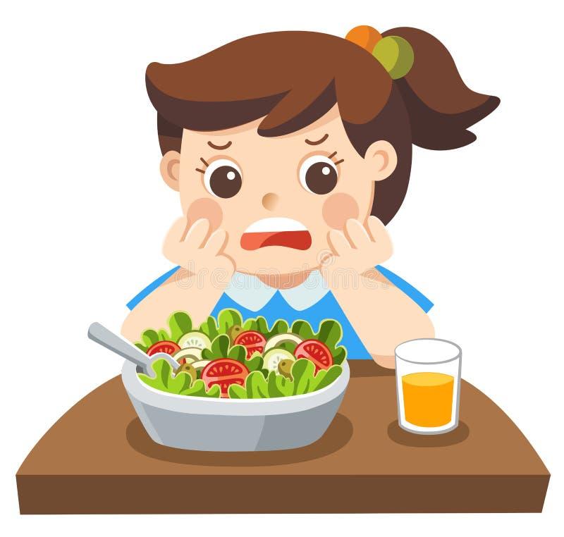 Несчастное ` t doesn девушки хочет ест здоровые овощи иллюстрация вектора