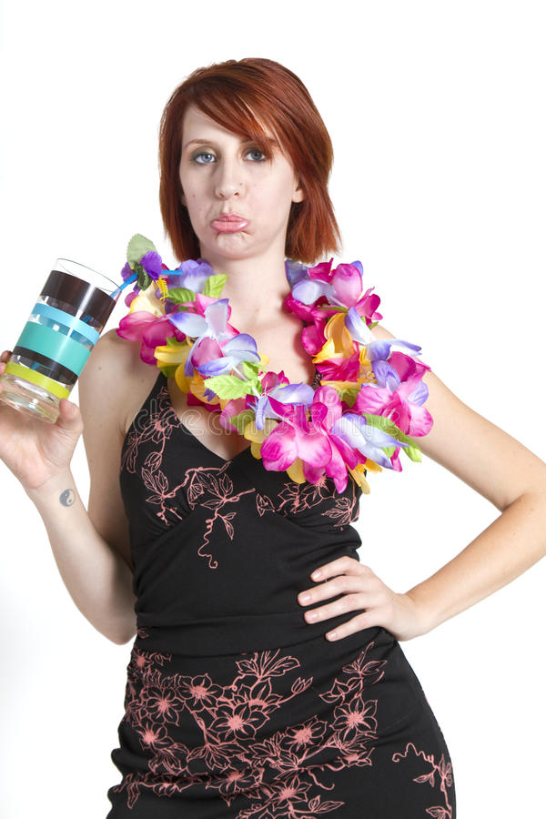 Несчастный отпускник молодой женщины стоковое фото
