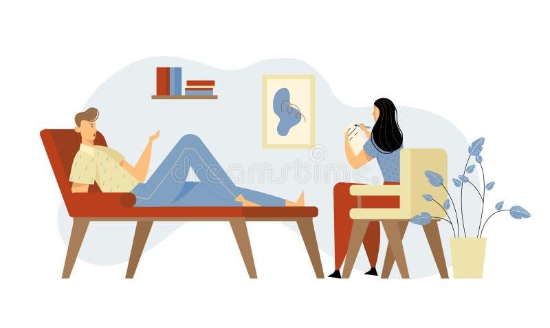 Несчастный человек лежа на кресле на встрече психолога для профессиональной помощи Доктор, специалист разговаривая с пациентом иллюстрация штока
