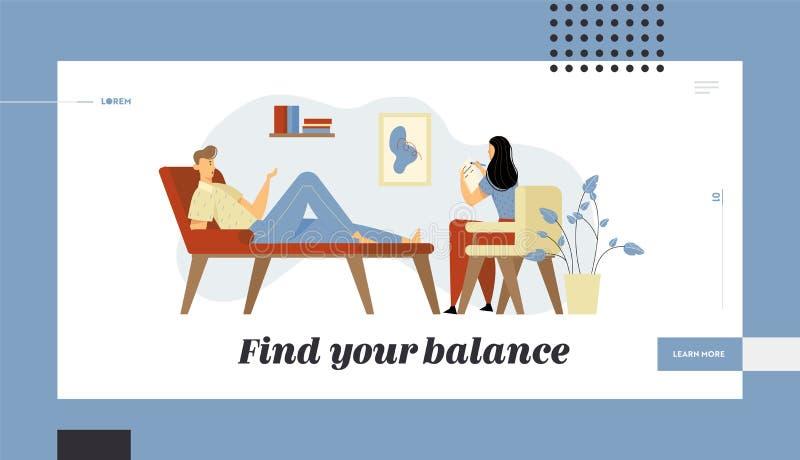 Несчастный человек лежа на кресле на встрече психолога Доктор, специалист разговаривая с пациентом о здоровье разума иллюстрация штока