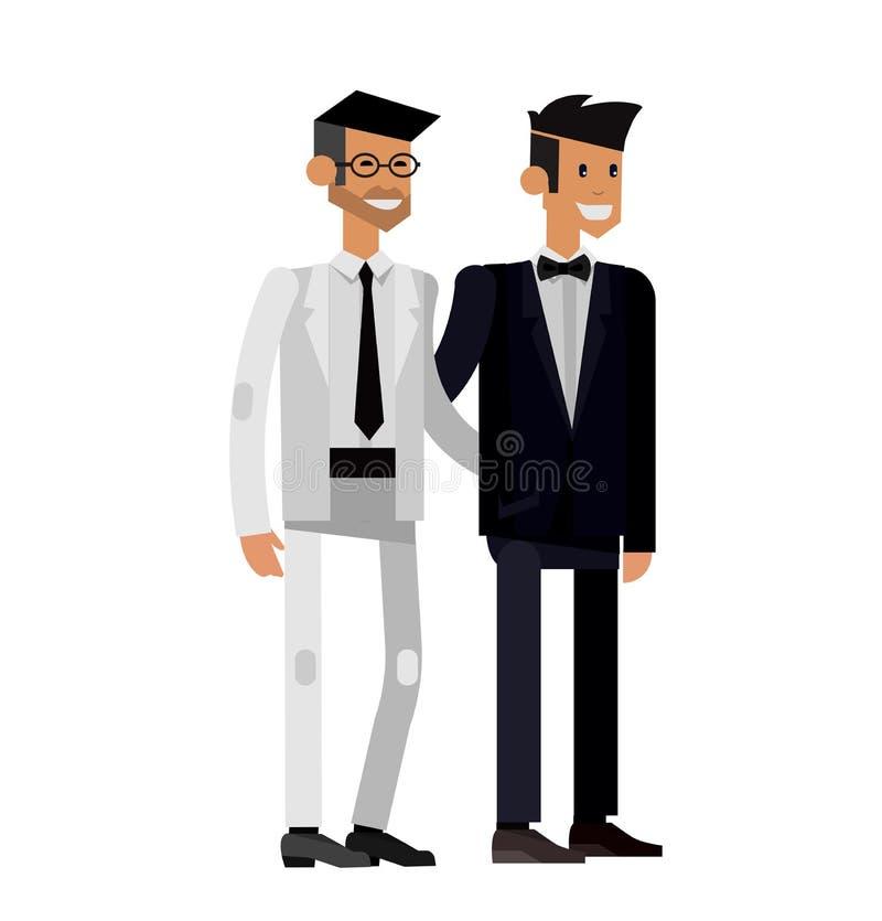 Нетрадиционная семья Счастливый милый гей и лесбиянка свадьбы бесплатная иллюстрация
