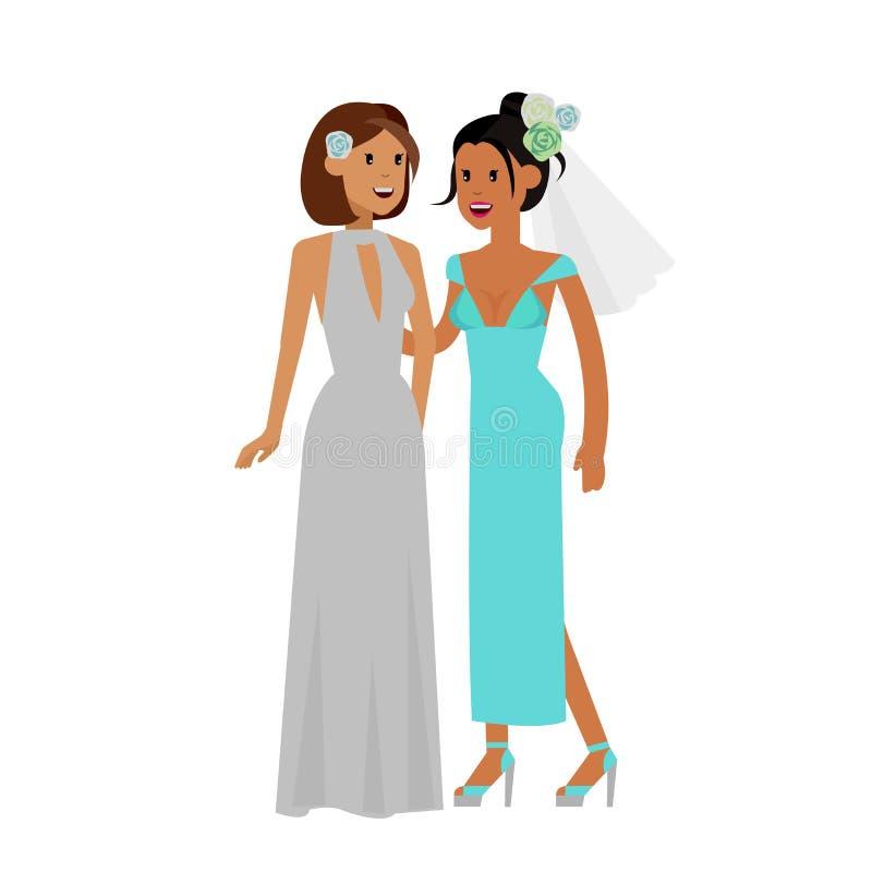 Нетрадиционная семья Счастливый милый гей и лесбиянка свадьбы иллюстрация вектора